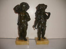 PAIR OF ANTIQUE HARVEST BRONZE BOY AND GIRL SCULPTURE