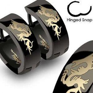 DRAGON surgical steel MEN'S HUGGIE HOOP Hinge EARRINGS black/gold 316L mens
