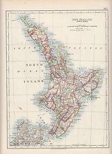 1897 VICTORIAN MAP ~ NEW ZEALAND NORTH ISLAND KAWHIA WANGANUI HAWERA