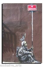 BANKSY GRAFFITI ART DEEP FRAMED WALL ART CANVAS PRINT - NO TRESPASSING -4 SIZES