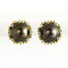 TAHITIAN PEARL EARRINGS 8.8mm CULTURED PEARLS GENUINE DIAMONDS 14K 585 STUDS NEW