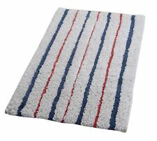 100% Cotton Red & Blue Stripe Soft Bath Mat Rug