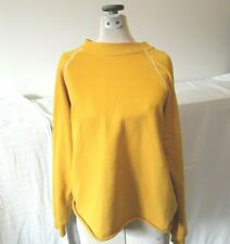 Roolee Mustard Pullover Top Crew Neck Long Sleeve Unfinifhsed Hem Cotton Blend S