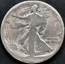USA 1916 D Walking Liberty Half Dollar 50 cents Denver Argent Rare 4410