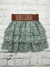 NEW LOOK - Green Floral Print Flared Layered Belted Skirt - Girls - 12-13 Years