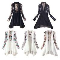Women Long Sleeve Boho Floral Chiffon Cardigan Coat Kimono Beach Cover Up Top
