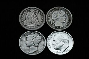 4 Coin Dime Lot - (1) Seated Liberty (1) Barber (1) Mercury (1) Roosevelt
