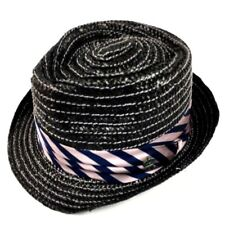 CHRISTYS' CROWN SERIES STRAW FEDORA Black w/ Purple Striped Ribbon SIZE M