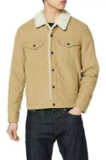 Mens Levi's Premium Type 3 Sherpa Trucker Jacket Desert Boot Canvas Tan Size S