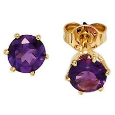 Ohrstecker rund 2 Amethyste lila violett 585 Gold Gelbgold Ohrringe 39695
