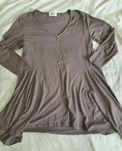 MELA PURDIE Matte Jersey Zip Neck 3/4 Sleeve Tunic Top in Grey S/10
