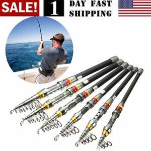USA! Carbon Fiber Telescopic Fishing Rod Sea Saltwater Portable Spinning Pole