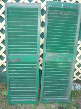 ANTIQUE SHUTTERS WOODEN PAIR LOUVRE SHUTTERS GREEN CIRCA LATE 1800s -EARLY 1900s