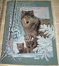 Wolf Hollow ~ Wolves Crafters Unfinished Tapestry Wall Hanging Fabric Remnant