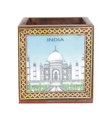 Tajmahal Printed Decor Gift Wooden Pen Stand Pencil Cases