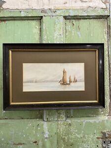 Framed OLD 1902 Vintage Painting SEASCAPE OYSTER SAILING BOAT Boats Sea Framed
