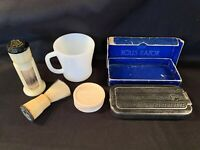 Antique Lot Vintage 1927 Rolls Razor Stanhomb StrongSet Shave Brush Soap Mug