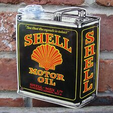 Shell Oil Can Enamel sign sign vitreous garage oil petrol gas MEDIUM VAC194