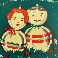 Vintage Mid Century Christmas Greeting Card Anthropomorphic Ornaments Couple