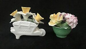 2 Vintage Small Porcelain Basket of Colorful Flowers  Italy