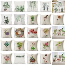 Nordic Style Cotton Linen Green Plant Cushion Cover Pillow Case Sofa Waist Decor