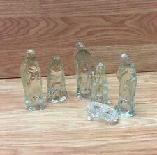 GLASS NATIVITY 6 PIECE SET JESUS MARY JOSEPH THE WISE MEN