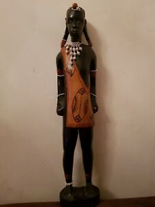 """VINTAGE AFRICAN CARVED STATUE AFRICA TRIBAL ETHNIC LARGE WOODEN FIGURE 24"""""""