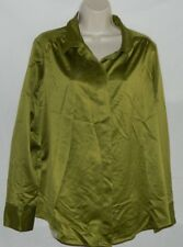 Olive Satin Feel Button Down Blouse Size XL 16 By Coldwater Creek