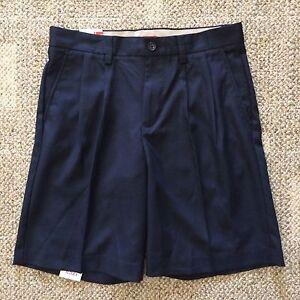 IZOD Men's Size 30 Midnight Navy Blue Mainfloor Pleated Dress Shorts No Iron