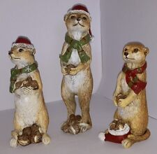 Christmas Meerkats Xmas Decoration. Gift Ornament - Set of 3