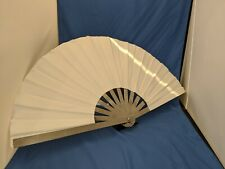 Genuine White suede Leather and metal hand held folding fan