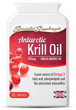 Antarctic Krill Oil 500mg 2-PACK 120 Capsules Omega 3 Antioxidants Astaxanthin