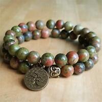 2pcs 8mm Natural Epidote Handmade Mala Bracelet Chakas Sutra Meditation Healing