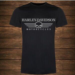 tshirt maniche corte uomo nera harley davidson motorcycles argento