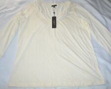 Talbots Blouse Women Sexy Top long Sleeve Ruffled Button Up Size M Color Cream