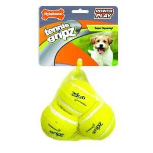 Nylabone Power Play Gripz TENNIS BALL Squeaker Dog Toy 3 Pak SMALL