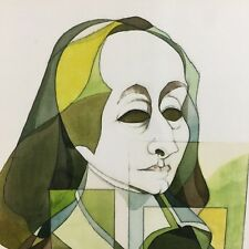 Orig. signed Leo Diane Dillon Watercolor Illustration Painting of Blaise Pascal