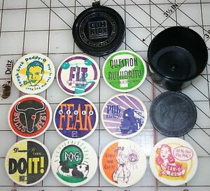 10 MIXED POG GAME TOKENS w/ STORAGE CONTAINER