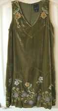 ANNA SUI for Antropologie Green Embroidered Velvet Sleeveless Dress Size 10