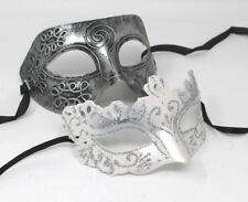 HIS N HERS PAIR COUPLES OF WHITE  AND SILVER VENETIAN MASQUERADE PARTY EYE MASKS