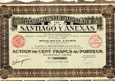 Action Compagnie Minière de Santiago y Anexas 1928