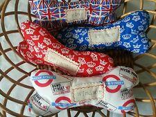 personalised  dog bone/toy. With squeak. Birthday present.London fabric