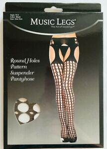 Black Suspender Pantyhose with Holes Pattern