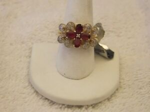14  KT  YG  NATURAL RUBY AND DIAMOND RING
