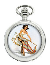 Help Needed Pin-up Girl Pocket Watch