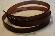 "Med Brown 100% cowhide leather belt embossed Woodland  Flora/Fauna pattern  1"" W"