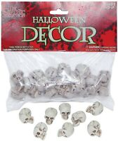 "Bag of 1"" Small Plastic Skulls 18 pieces Halloween Decor Bag of Skulls"