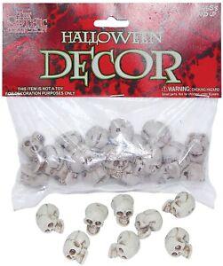"""Bag of 1"""" Small Plastic Skulls 18 pieces Halloween Decor Bag of Skulls"""