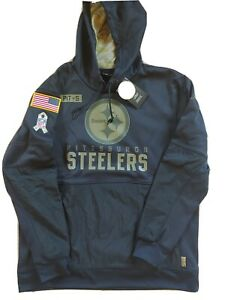 Brand New Pittsburgh Steelers Black 2020 Salute to Service Sideline Hoodie XL