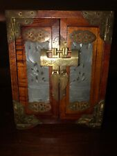 Vintage Shanghai China rosewood and jade handmade jewelry box great construction